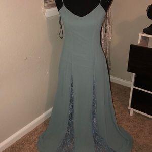 Tobi Dusty Blue/Green - Lace Inlet Dress